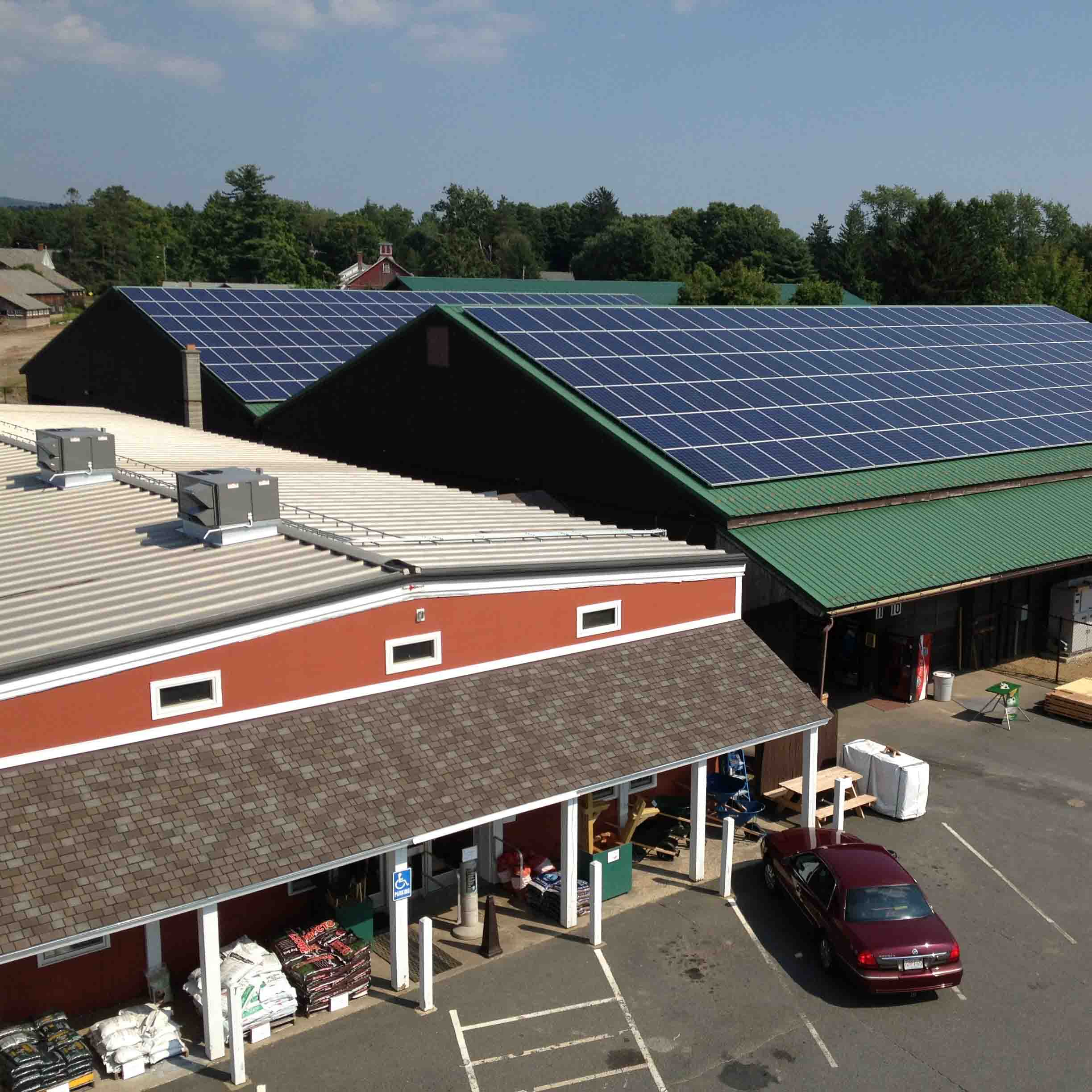 Roof mounted photovoltaic system on Cowls Building Supply