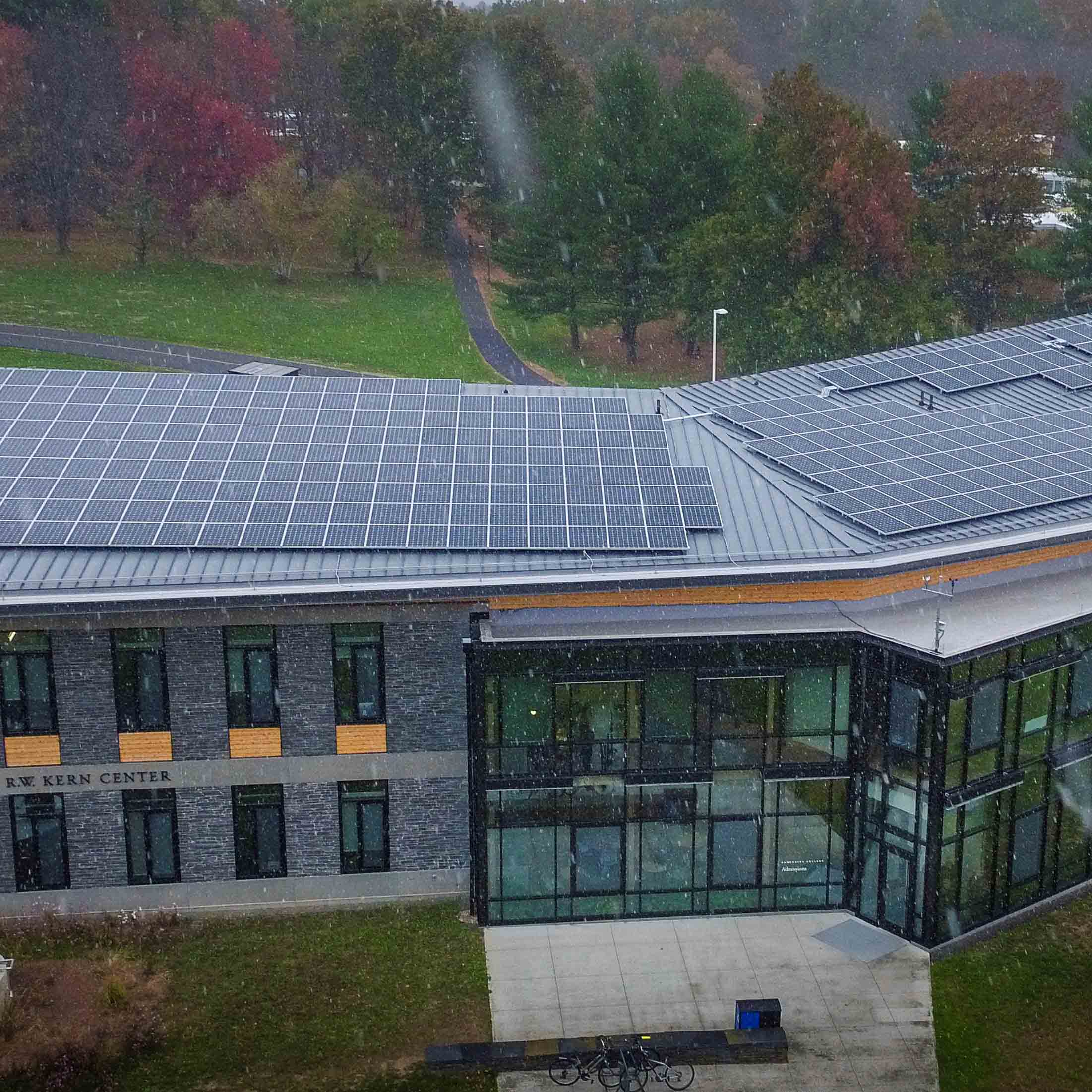 Roof mounted solar panels on R.W. Kern Center at Hampshire College