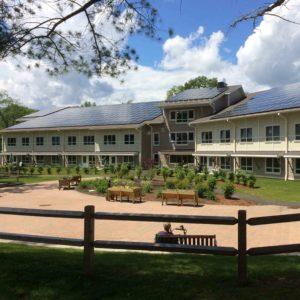 Roof mounted solar panels on Highland Woods