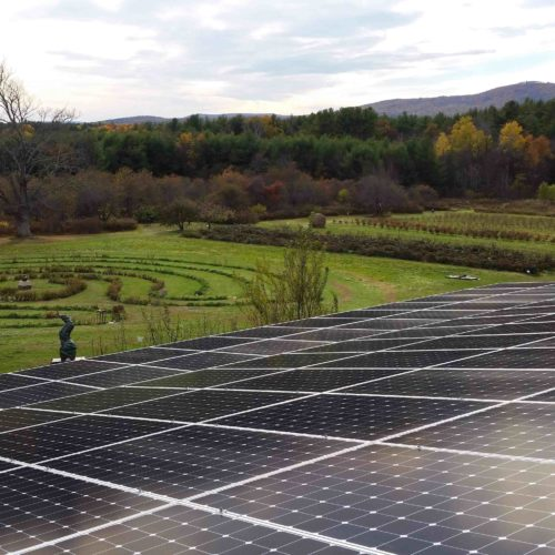 Roof mounted solar panels at Park Hill Orchard