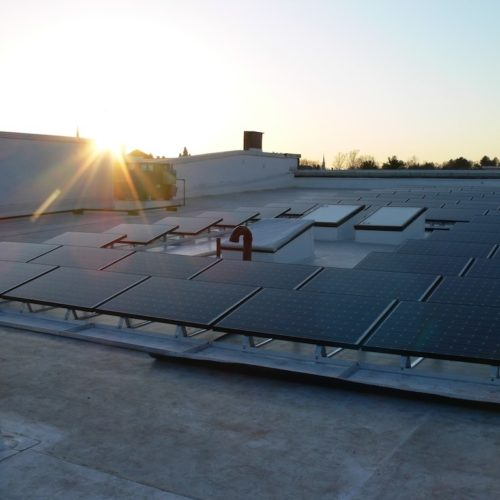 Roof mounted photovoltaic system at Thornes Marketplace