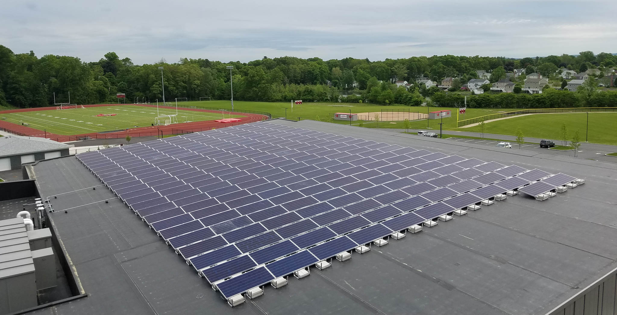 Pope Francis Prep School's Roof Mounted Solar Array in Springfield, MA
