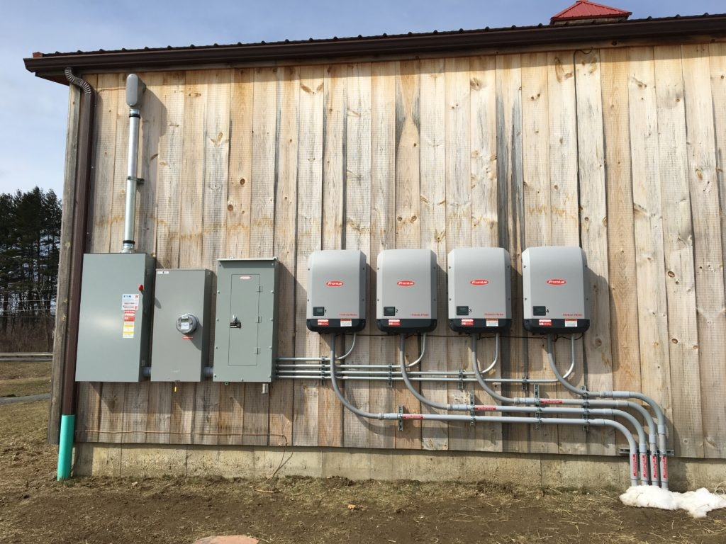Inverters for a solar array installed by PV Squared. For Atlas Farm Store in South Deerfield, MA