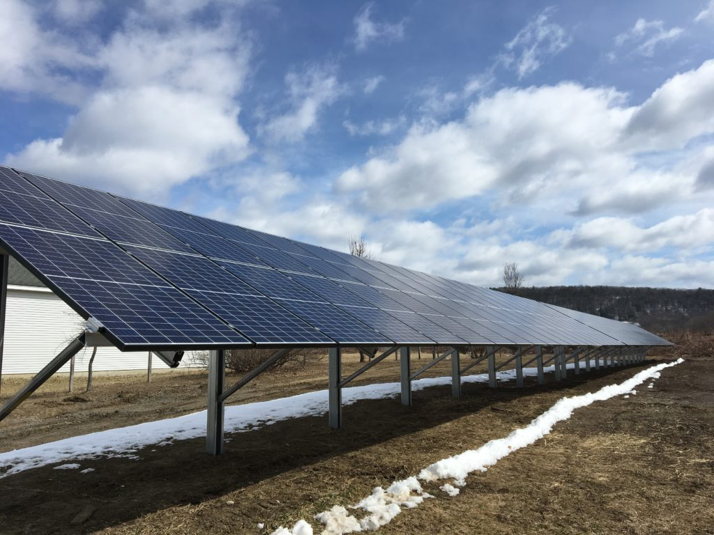 Solar array installed by PV Squared. For Atlas Farm Store in South Deerfield, MA